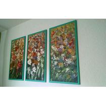 Pintura Arte Figurativo Al Óleo: Composición Floral ( 3 Pzs)