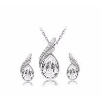 Aretes Y Collar Chapa De Oro Con Cristales Swarovsk Gotas