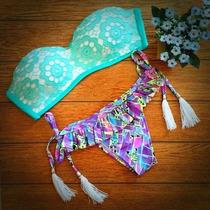 Bellisimo Bikini Verde/lila Corte Brasileño Push Up..
