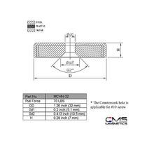 Cms Magnética De Neodimio Imán Redondo Base W / Avellanado D