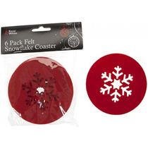 Copo De Nieve Mat - 6pc Poli Fieltro Rojo De La Navidad Snow
