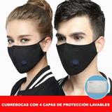 Cubrebocas Reutilizable Con Válvula De Aire Y Filtro P.m2.5