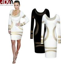 Vestido Negro Kim Kardashian Manga Larga Corto