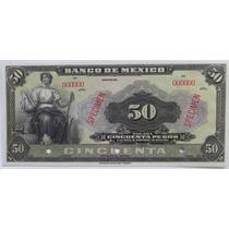 Billete Banco De Mexico 50 Pesos Tipo Ancho 1er Emision