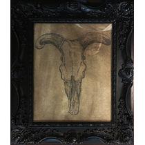 Marco, Litografía, Cuadro Vintage, Craneo Animal