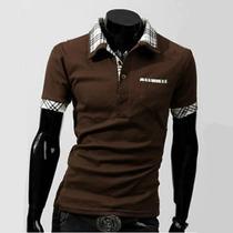 Camisa De Vestir Cafe Para Hombres