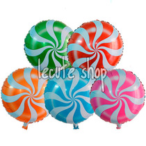10 Globos Metalicos Candy Lollipop Dulce Paletas Cumpleaños