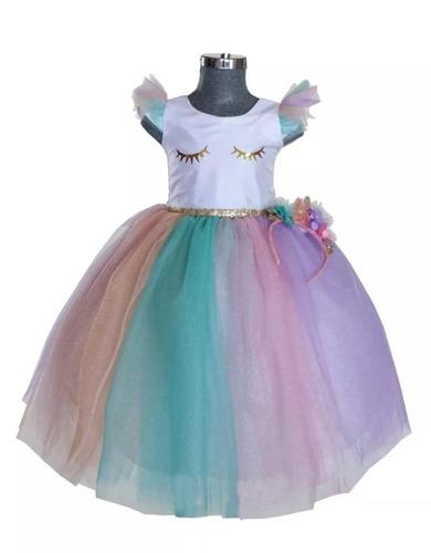 Vestido Para Niña Fiesta Unicornio Presentacion De 3 Años En