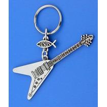 Llavero Guitarra Tipo Flying V Con Simbolo Jesús