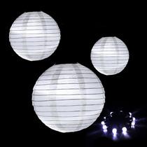 10 Lampara Esfera De Papel China C Luz Led 20cms Decoración
