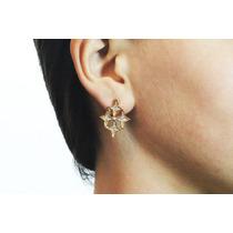 Arete Moda Dorado 4 Cruces Y Finos Cristales Ar318