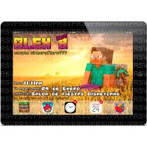 Minecraft Invitaciones Personalizadas En Forma De Ipad