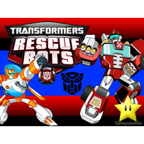 Kit Imprimible Transformers Rescue Bots Diseñá Tarjetas 2x1