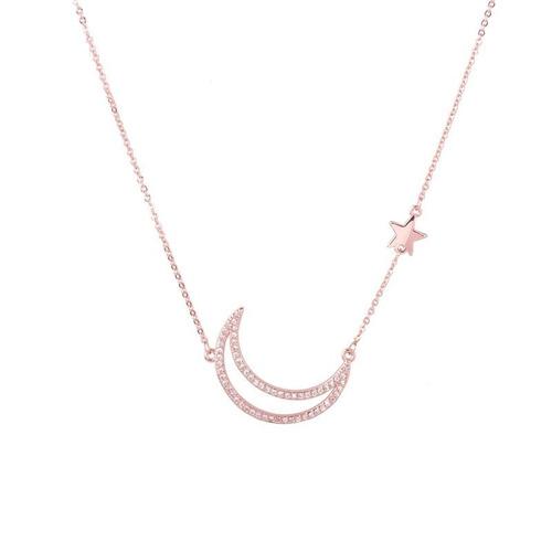 084b30a1b27d Collar Luna Con Zirconias Estrella Cadena Lam En Oro 24k en venta en ...