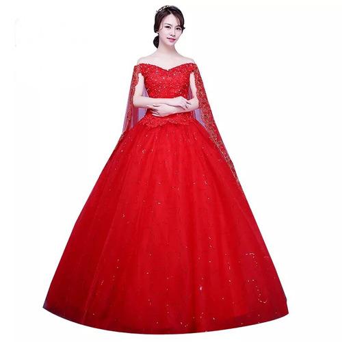 4e892527ac8 Vestido De Xv 15 Años Rojo Con Capa Lentejuelas Pedrería en venta en ...