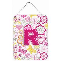 Letra R Flores Y Mariposas Pared De Color Rosa O Puerta Colg