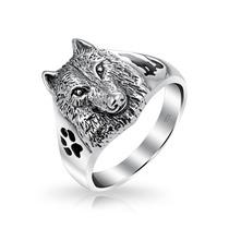 Bling Jewelry Esmalte De La Plata Lobo Jefe De La Pata Del A