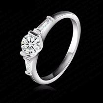 Anillo De Chapa De Platino Diamante Zirconia Compromiso