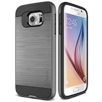 Galaxy S6 Caso, Verus [verge] [dark Silver] - [textura Metal