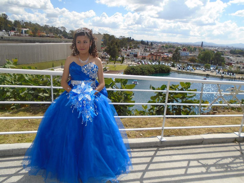 Vestido 15 Años Azul En Venta En Ahuacatlán Puebla Por Sólo