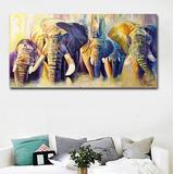 Cuadro Canvas Familia De Elefantes 1x.60 M Acuarela Colores Moderno Listo Para Colgar Materiales De Calidad No Sintetico
