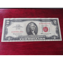 Billete Two 2 Dollar Sello Rojo 1963 Red Seal Au Hermoso