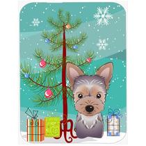 Árbol De Navidad Y Yorkie De Cristal Tabla De Cortar Grande