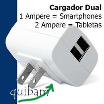 Cargador Usb Pared Doble 1amp 2amp Iphone Ipad Tab Ipod Mp3