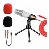 Micrófono Condensador Blanco Con Divisor De Audio Y Antipop