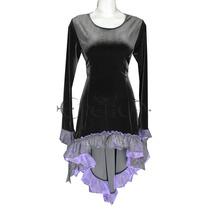 Vestido Sexy Gotico Terciopelo C/ Encaje Dark Asimetrico