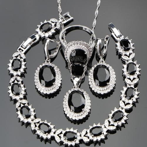 8d33040803f6 Bisuteria Fina Set Anillo Collar Aretes Negro Onix Plateado