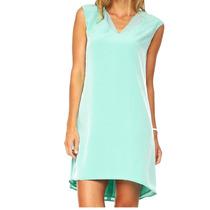 Vestido Calvin Klein Talla 2 Color Agua Escote V Nuevo