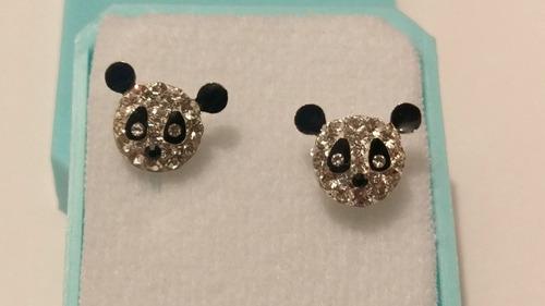 4b0e98a5cc16 Aretes De Plata Con Cristales De Oso Panda Estuche Y Envio G