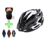 Kit Casco Bicicleta Con Vicera + 1luz Roja+ 1mascara Facial