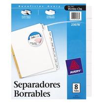 Separador De Plastico T/ Carta Blanco 8 Div P-/ Escritura,
