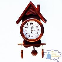 Reloj Pared Rustico Vintage Clasico Madera Con Pendulo Casa