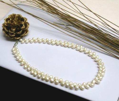 20de8a5dfdc5 Collar Perlas De Río Auténticas Forma De Trigo