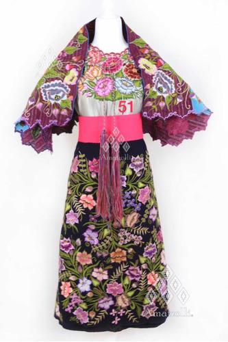 Traje Vestido Mexicano De Fiesta Artesanal Típico Chiapas En