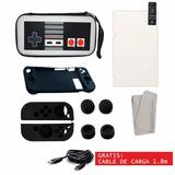 Funda Nintendo Switch Estuche Retro Kit Accesorios + Cristal