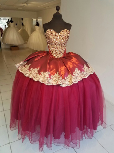 Vestido Xv Años Tinto En Venta En Guadalajara Jalisco Por