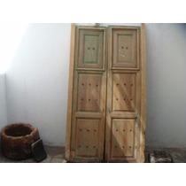 Antigua Puerta Con Ventanas De Madera Años 30's