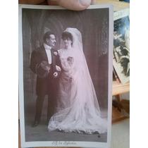 5 Tarjetas Postales Antiguas Boda Vestido Matrimonio Novios