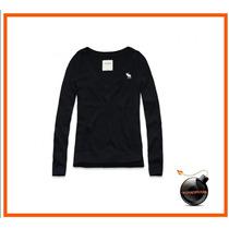 Sweater Abercrombie Original Azul Marino Algodon Nina
