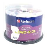 Dvd+r Dl Verbatim Imprimible 8.5 Gb  Blanco Full Face 50 Pza
