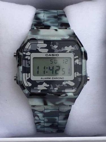 Reloj A168 En Casio Del Venta Campestre Camuflaje Gris Lomas O0Pwnk
