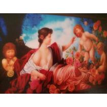 Pintura Al Oleo Y Marco De Cedro Cama De Rosas