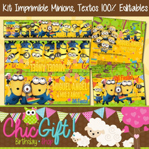 Kit Imprimible Minions Textos 100% Editables, Mi Villano Fav