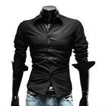 Camisa De Vestir Negra Para Hombres
