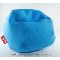 Sillón Puff Grande Tela Tipo Gabardina Azul Electrico