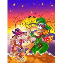 Bruja Vudú Espantapájaros De Halloween De La Bandera Verde
